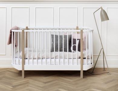 Oliver Furnituren Wood- malliston pinnasänky, valkoinen/tammi