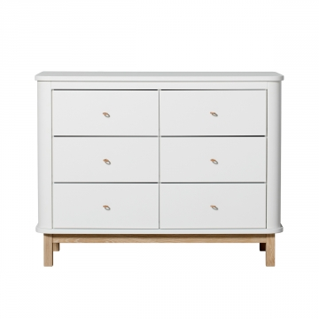 Wood dresser 6 drawers, white/oak