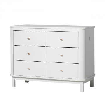 Wood dresser 6 drawers, white