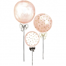 Wall stickers kids balloons pink and peas gold