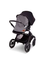 Stroller curtain, black 'n white striped